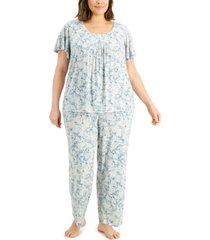 charter club plus size pleated pajama set, created for macy's