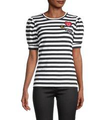 karl lagerfeld paris women's patch & stripe puff-sleeve t-shirt - bright rose - size xs
