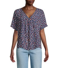 madewell women's rhyme blouse top - blue floral - size s