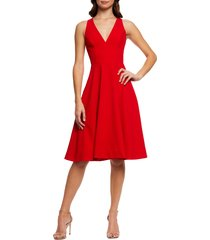 women's dress the population catalina fit & flare dress, size large - red