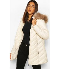 high shine faux fur trim longline puffer coat, stone