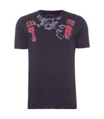 camiseta masculina ckj recorte frontal - preto