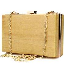 clutch artestore social bolsa carteira de festa em madeira clara