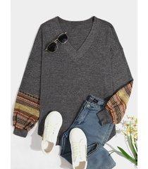 blusa de manga larga con cuello en v tribal de patchwork