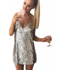 deep v neck metal chain halter sequin dress party evening club backless dress