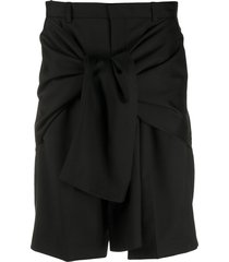 cmmn swdn tie front detail shorts - black