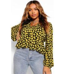 plus bloemenprint peplum blouse met ruches, geel