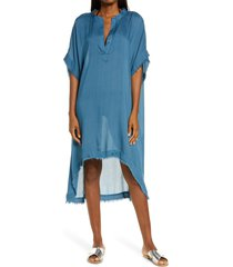 women's elan fray edge cover-up caftan, size one size - blue