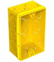 """caixa de luz retangular em pvc flex 4x2"""" amarela"""