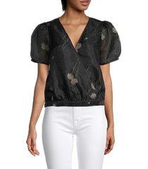 madewell women's sanna floral silk-organza wrap top - black - size xs