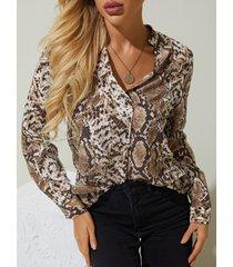 yoins blusa de manga larga con cuello en v de piel de serpiente marrón