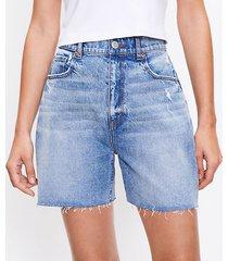 loft petite fresh cut high rise boyfriend shorts in light wash