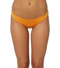 women's o'neill saltwater solids hi-leg bikini bottoms, size x-large - orange