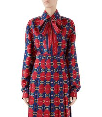 women's gucci gg waves print silk twill bow blouse
