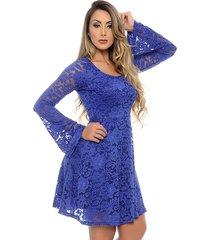 vestido b bonnie curto em renda sara com manga longa azul royal