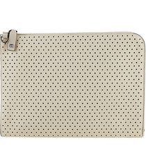 valentino garavani men's peforated leather document case - light ivory