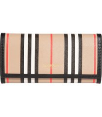 burberry stripe print continental wallet