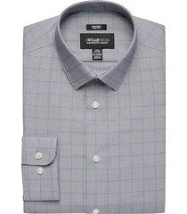 awearness kenneth cole men's blue windowpane slim fit dress shirt - size: 16 32/33