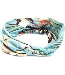 headband turbante bijoulux azul e folhas - tricae