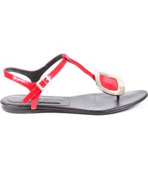 roger vivier buckle thong sandals black/red sz: 9