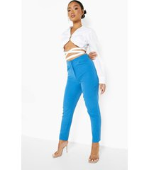 petite getailleerde broek met knopen, blue