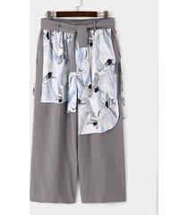 hombres estilo japonés harajuku retro loose crane print wide leg pantalones
