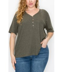 plus size thermal v-neck henley tee