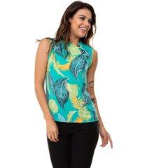 blusa kinara regata crepe estampada botãµes verde - verde - feminino - poliã©ster - dafiti