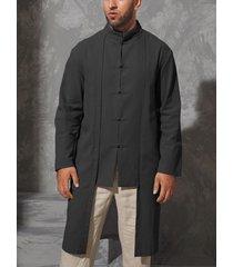hombres casual otoño estilo retro stand collar llanura midi camisa