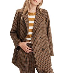women's madewell caldwell plaid double-breasted blazer, size x-large - brown