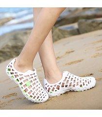 casual sandali bassi da spiagia a grande taglia con colore a tinta unita scarpe a retini