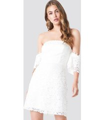 trendyol off shoulder lace mini dress - white