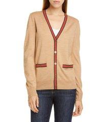 women's tory burch madeline cardigan, size x-large - beige
