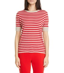 women's max mara stagno stripe silk & cashmere sweater t-shirt, size x-large - red