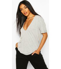 plunge front oversized t-shirt, grey marl