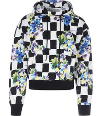 off-white check flowers over hoodie