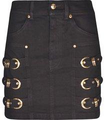 buckle embellished mini skirt