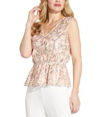 adrianna papell v-neck embroidered blouson top