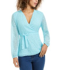 charter club clip-dot wrap top, created for macy's
