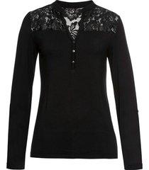 maglia serafino con pizzo (nero) - bodyflirt