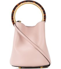 marni tortoiseshell handle pannier bucket bag - pink