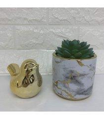 conjunto de vaso marmorizado cerâmico e pássaro dourado