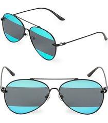 aqs women's 60mm aviator sunglasses - black teal