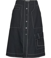 high waisted denim mid skirt knälång kjol svart 3.1 phillip lim