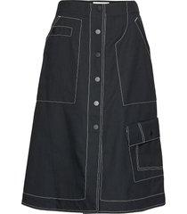 high waisted denim mid skirt knälång kjol svart 3.1 phillip lim
