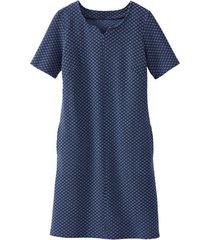 jersey jurk van structuur-jacquard, marine-motief