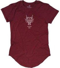 camiseta longline stoned dragon masculina