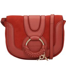 see by chloé hana small shoulder bag in bordeaux suede and leather