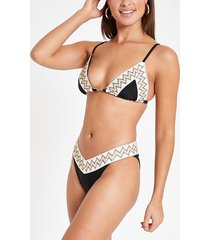 river island womens black elastic trim high leg bikini bottoms