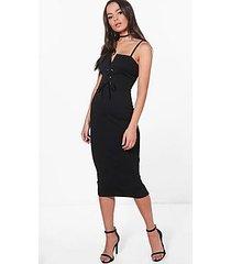 lizzie corset waist strappy midi dress